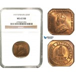 W65, Straits Settlements, George V, 1 Cent 1919, NGC MS65RB