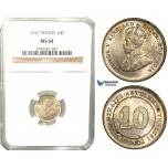 W67, Straits Settlements, George V, 10 Cents 1927, Silver, NGC MS64
