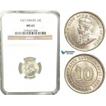 W68, Straits Settlements, George V, 10 Cents 1927, Silver, NGC MS63