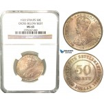 W69, Straits Settlements, George V, 50 Cents 1920, Silver, NGC MS65