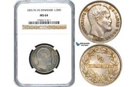 W71, Denmark, Frederik VII, 1/2 Rigsdaler 1855-VS, Copenhagen, Silver, NGC MS64