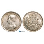 W87, Thailand, Rama V, 1 Baht ND (1876-1900) Silver, Luster, High Grade! (Few bag marks)