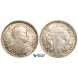 W88, Thailand, Rama VI, Bath BE2456 (1913) Silver, Luster, High Grade, few bag marks!