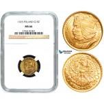 W89, Poland, 10 Zlotych 1925 (Boleslaw) Warsaw, Gold, NGC MS66