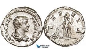 W92, Roman Empire, Geta (198-209 AD) AR Denarius (3.57g) Rome (203-208 AD) Minerva, About EF