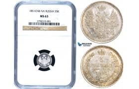 W94, Russia, Nicholas I, 5 Kopeks 1851 СПБ-ПД, St. Petersburg, Silver, NGC MS63