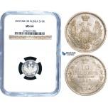 W95, Russia, Alexander II, 10 Kopeks 1857 СПБ-ФБ, St. Petersburg, Silver, NGC MS64