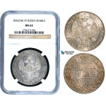 W99, Russia, Nicholas I, Rouble 1836 СПБ-НГ, St. Petersburg, Silver, NGC MS63 (Undergraded)