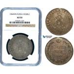 Y14, Russia, Nicholas I, Rouble 1844 MW, Warsaw, Silver, NGC AU50
