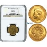 Y16, Russia, Nicholas II, 10 Roubles 1911 (ЭБ) St. Petersburg, Gold, NGC AU58