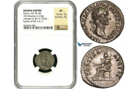 Y17, Roman Empire, Nerva (96-98 AD) AR Denarius (3.23g) 96 AD, Rome, Fortuna, NGC XF (RIC Unlisted!) RRR! NGC Article!