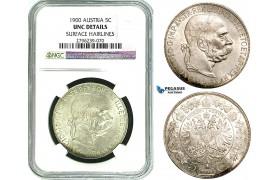 Y19, Austria, Franz Joseph, 5 Corona (Kronen) 1900, Vienna, Silver, NGC UNC