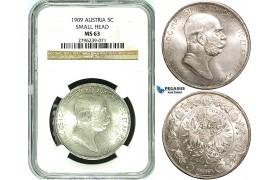 Y20, Austria, Franz Joseph, 5 Corona (Kronen) 1909, Vienna, Silver, NGC MS63 (Marschall Type, small head)