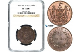 Y22, British North Borneo, 1 Cent 1886-H, Heaton, NGC SP65BN