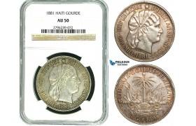 Y32, Haiti, Gourde 1881, Paris, Silver, NGC AU50