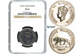 Y34, India (British) George VI, Rupee 1947 (L) Lahore, NGC PF63 (Pop 1/2, No finer!) Extremely rare grade!