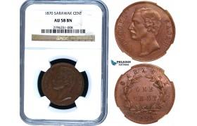 Y40, Sarawak, C. Brooke Rajah, 1 Cent 1870, Heaton, NGC AU58BN