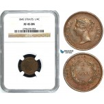Y44, Straits Settlements, Victoria, 1/4 Cent 1845, NGC XF45BN