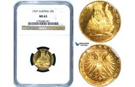 Y46, Austria, 25 Schilling 1937 (St. Leopold) Vienna, Gold, NGC MS65