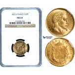 Y49, France, Napoleon III, 20 Francs 1862-A, Paris, Gold, NGC MS64 (Small A)