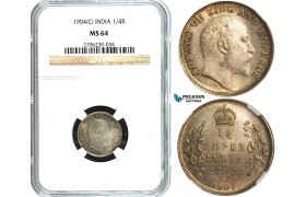 Y52, India (British) Edward VII, 1/4 Rupee 1904 (C) Calcutta, Silver, NGC MS64
