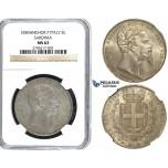 Y54, Italy, Sardinia, Vit. Emmanuele II, 5 Lire 1850-P, Genova, Silver, NGC MS63 (Pop 1/1, Finest!) Very Rare so nice!