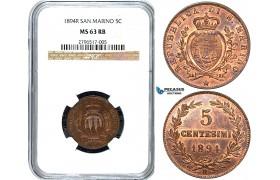 Y57, San Marino, 5 Centesimi 1894-R, Rome, NGC MS63RB