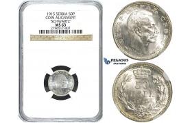 Y64, Serbia, Petar I, 50 Para 1915, Paris, Silver, KM-24.3, NGC MS63