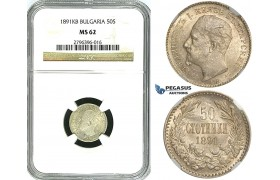 Y67, Bulgaria, Ferdinand I, 50 Stotinki 1891-KB, Kremnitz, Silver, NGC MS62