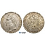 Y80, Venezuela, 5 Bolivares 1902 (Narrow date)  Philadelphia, Silver, High Grade with Original luster and Toning! Rare condition!