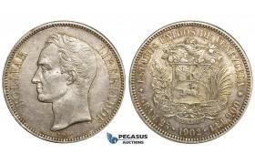 Y80, Venezuela, 5 Bolivares 1902 (Narrow date)  Philadelphia, Silver, High Grade with Original luster and Toning! Rare condition!