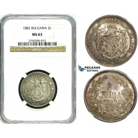 Y81, Bulgaria, Alexander I, 2 Leva 1882, St. Petersburg, Silver, NGC MS63