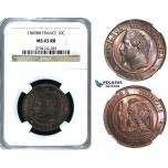 Y83, France, Napoleon III, 10 Centimes 1865-BB, Strasbourg, NGC MS65RB (Pop 1/1, Finest!)