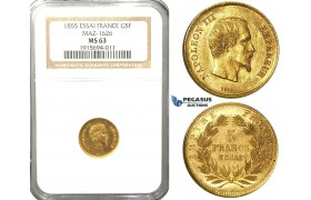 Y84, France, Napoleon III, ESSAI 5 Francs 1855, Paris, Gold, Maz. 1626 (Large Module) NGC MS63, Extremely Rare!