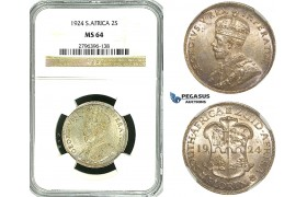 Y85, South Africa, George V, 2 Shillings 1924, Pretoria, Silver, NGC MS64