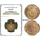 Y90, Romania, Carol I, 10 Bani 1867, Heaton, NGC MS64RD