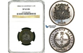 Y91, British North Borneo, 1/2 Cent 1886-H, Heaton, NGC SP63BN
