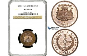Y92, British North Borneo, 1/2 Cent 1891-H, Heaton, NGC MS63RB