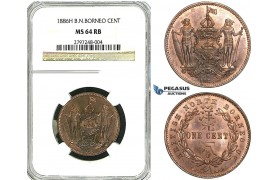 Y93, British North Borneo, 1 Cent 1886-H, Heaton, NGC MS64RB