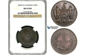 Y94, British North Borneo, 1 Cent 1890-H, Heaton, NGC MS62BN