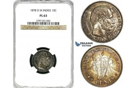 Y98, Danish West Indies, Christian IX, 10 Cents 1878, Copenhagen, Silver, NGC PL63