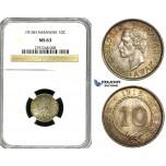 Z04, Sarawak, C. Brooke Rajah, 10 Cents 1915-H, Heaton, Silver NGC MS63