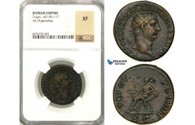 Z11, Roman Empire, Trajan (98-117 AD) Æ Dupondius (12.53g) Rome, 100 AD, Abundantia, NGC XF