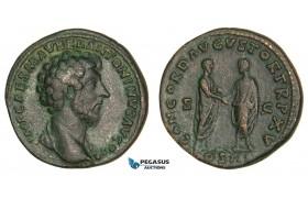Z12, Roman Empire, Marcus Aurelius (161-180 AD) Æ Sestertius (24.03g) Rome, 161 AD, Lucius Verus, High Relief, Good VF