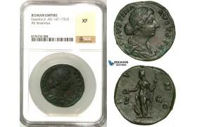Z14, Roman Empire, Marcus Aurelius (161-180 AD) for Faustina Jr., Æ Sestertius (23.67g) Rome, Juno, NGC XF