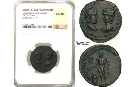 Z15, Roman Provincial, Moesia Inferior, Marcianopolis, Caracalla (198-217 AD) with Julia Domna, Æ Pentassarion (9.82g) Quintillianus, legatus consularis, 215 AD, Apollo, NGC Ch XF, Rare!