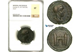 Z17, Roman Provincial, Moesia Inferior, Nicopolis ad Istrum, Gordian III (238-244 AD) Æ 27 (12.43g) Sabinius Modestus, legatus consularis., City Gate, NGC XF, Rare!