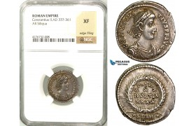 Z19, Roman Empire, Constantius II (337-361 AD) AR Siliqua, Sirmium 355-361 AD, NGC XF