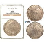 Z25, France, Louis XIV, Ecu 1691-B, Rouen, Silver, NGC MS62