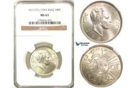 Z32, Iraq, Faisal II, 100 Fils 1953, Silver, NGC MS63